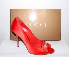 GUCCI  Peep Toe Pumps Satin Orange Gr.40