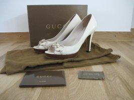 Gucci Peeptoes Sandalen Pumps Schuhe 37 Creme Horsebit