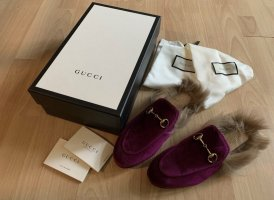 Gucci Princetown Samt Fell Slipper Loafer Fuchsia