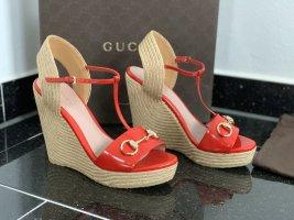 Gucci Sleehaksandalen rood-baksteenrood Leer