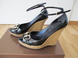 Gucci Sandalen Wedges Schuhe 37 Lackleder Bast 37 100% Original
