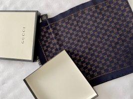 Gucci Sjaal met franjes donkerblauw