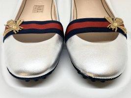 Gucci Peep Toe ballerina's zilver