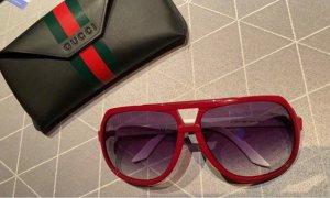 Gucci Okulary pilotki biały-ciemnoczerwony