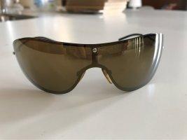 Gucci Occhiale da sole ovale nero-oro
