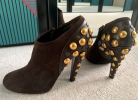 Gucci Booties dark brown-brown leather