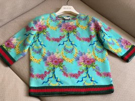 Gucci Short Sleeve Sweater turquoise-dark red cotton