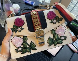 Gucci Schoudertas wit-neonrood