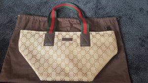 Gucci Tasche aus Canvas, rot grüne Henkel, mit Lederdetails, Staubbeutel, Zertifikat, NEU