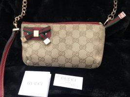 Gucci Bolso tipo pochette rojo oscuro-beige claro