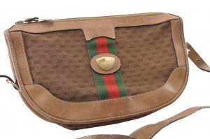 Gucci Vintage Web Sherry Line GG Canvas Shoulder Bag