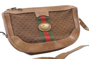 Gucci Sac porté épaule brun fibre textile