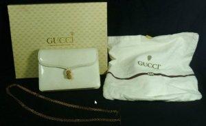 Gucci Weiße Eidechsen-Abendtasche mit goldfarbener Kette