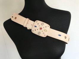 Orciani Cinturón de cuero blanco puro-beige claro Cuero