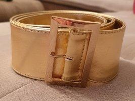 H&M Cinturón de cuero de imitación color oro