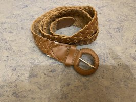 0039 Italy Braided Belt cognac-coloured-brown