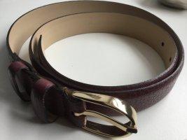 abro Leather Belt carmine-bordeaux leather