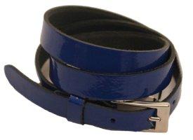 Gürtel aus Lackleder, Royal-Blau, Schließe in Silberfarben