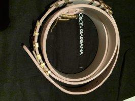 Dolce & Gabbana Ceinture en cuir rose clair-blanc cuir