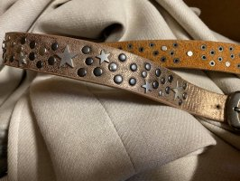 Gürtel Beige-Hellbraun Sterne Nieten top 95cm