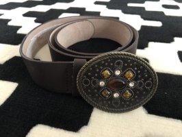 Cinturón de cuero de imitación marrón oscuro-marrón