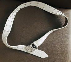 Dolce & Gabbana Cinturón de cuero blanco-color plata