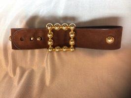 Escada Cinturón de cuero marrón-color oro