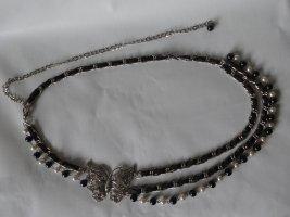 0039 Italy Cinturón de cadena negro-color plata