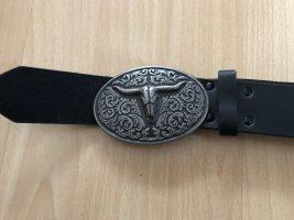 Hebilla del cinturón negro-color plata