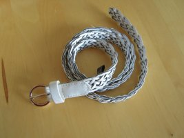 Atmosphere Braided Belt white-silver-colored imitation leather