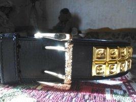 Cinturón de cuero de imitación negro-naranja dorado