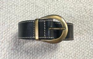 H&M Cinturón de cuero de imitación negro-color oro