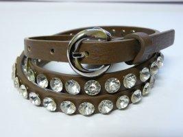 Cinturón de pinchos marrón Poliuretano