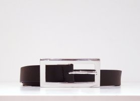 ECHT LEDER Cintura di pelle nero-argento Pelle