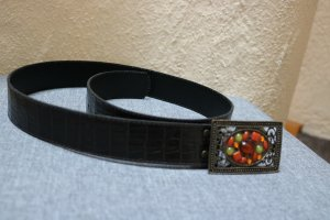Faux Leather Belt dark brown mixture fibre