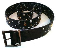 Gürtel mit #bling, schwarz silber, gold, 84-94 cm