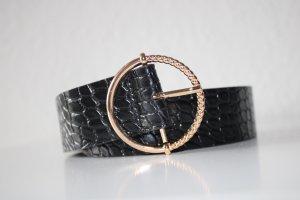 Cinturón de cuero de imitación negro-color oro