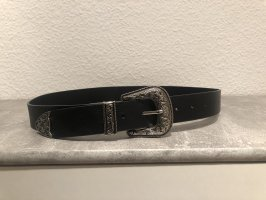 SheIn Faux Leather Belt black-silver-colored