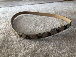 Cinturón de cuero de imitación crema-marrón claro