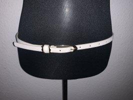 Cinturón de cuero de imitación blanco-color oro