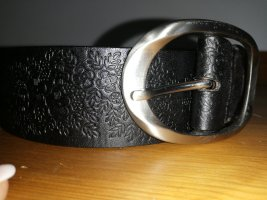 TCM Leather Belt black-silver-colored leather