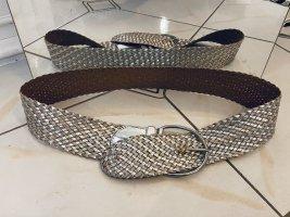 Cintura in tessuto argento