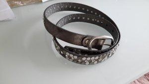 markenlos Cinturón de cuero de imitación color plata-gris