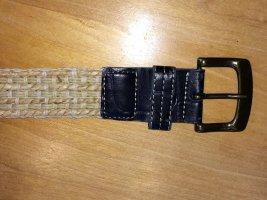 Pasek z materiału beżowy-ciemnobrązowy