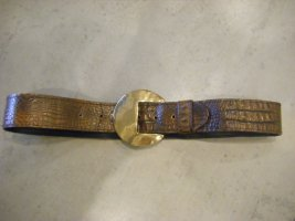 Gürtel Taillengürtel geprägtes Leder Kroko-Optik 81 cm