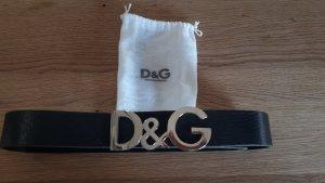 Dolce & Gabbana Cintura di pelle nero-argento Pelle