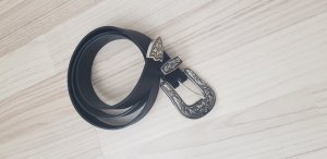 H&M Cintura in ecopelle nero-argento