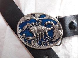 Hebilla del cinturón color plata-azul