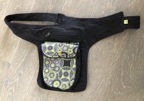 Gürteltasche Bauchtasche schwarz Print grau limone Canvas Baumwolle