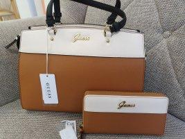 Guess Eliza Satchel Tasche + Portemonnaie Crossbody braun beige gold Umhängetasche